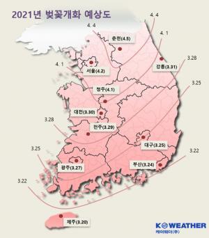 올해 벚꽃 개화 시기, 평년보다 3~5일 빠르다, 제주도 3월 20일 서울은 4월 2일 개화 예상